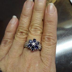 White gold 10k iolite ring with diamonds